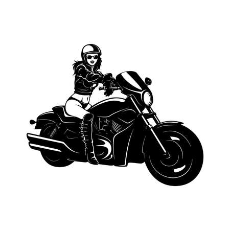 Sexy Girl and Vintage Motorcycle - Chopper, Classic Bike, Clipart, Vector Silhouette