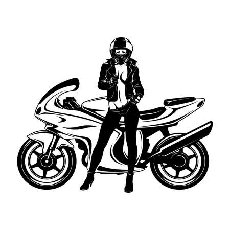 Sexy Girl and Sport Motorcycle - Suberbike, Super Bike - Clipart, Vector Silhouette