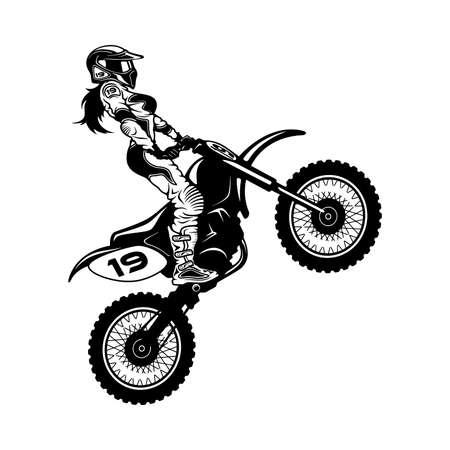 Sexy Girl and Motocross Motorcycle. Motocross Extreme Sport, Freestyle Girl Vector Silhouette. Ilustración de vector