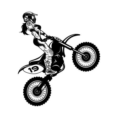 Sexy Girl and Motocross Motorcycle. Motocross Extreme Sport, Freestyle Girl Vector Silhouette. Vector Illustration