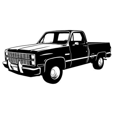 Pickup lifted 1972, Muscle car, Classic car, Stencil, Silhouette, Vector Clip Art - Truck 4x4 Off Road - Off-road car for tshirt and emblem