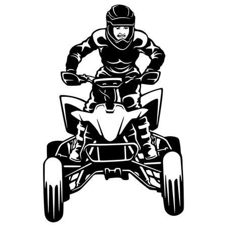 ATV Quad Bike and Sexy Girl. Extreme Dirt Bike 4x4 Clipart, Vector Design