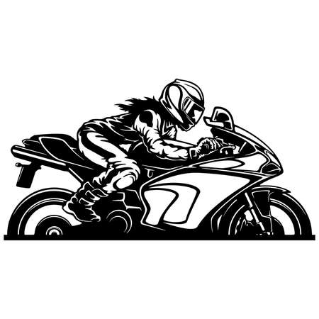 Sexy Girl and Sport Motorcycle. Superbike Clipart, Vector Silhouette Vector Illustration