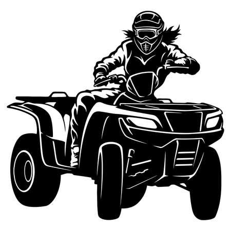 ATV Quad Bike and Sexy Girl - Extreme Dirt Bike 4x4 - Clipart, Vector Design Vetores