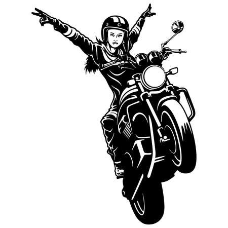 Freedom. Girl and Motorcycle - Chopper, Classic Bike, Clipart, Vector Silhouette Vetores