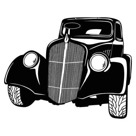 Old Classic Car, 1930 Vintage car, Stencil, Silhouette, Vector Clip Art for tshirt and emblem