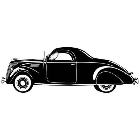 Old Classic Car, 1930 Vintage car, Stencil, Silhouette, Vector Clip Art for tshirt and emblem Векторная Иллюстрация