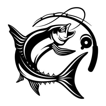 Salmon fish and fishing rod - Template club emblem. Fishing theme vector illustration.