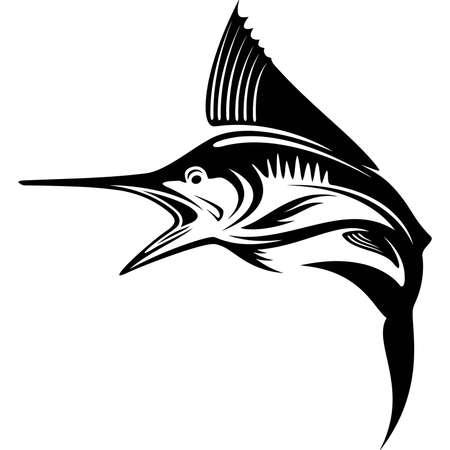 Blue Marlin fish - Template club emblem. Fishing theme vector illustration.