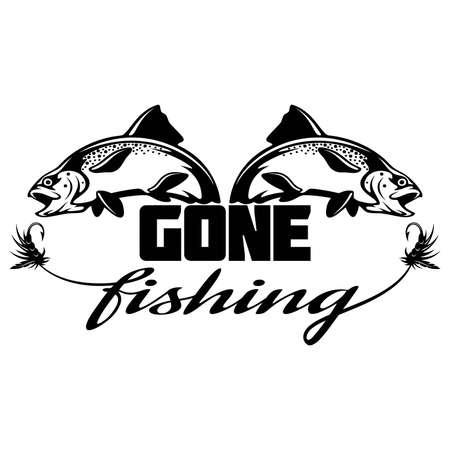 Go Fishing logo, lettering. Template club emblem. Fishing theme vector illustration.