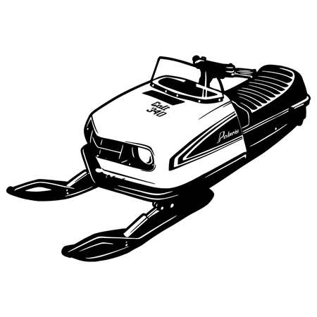 Snowmobile in black isolated on white background. Detailed vintage etching style drawing. Vetores