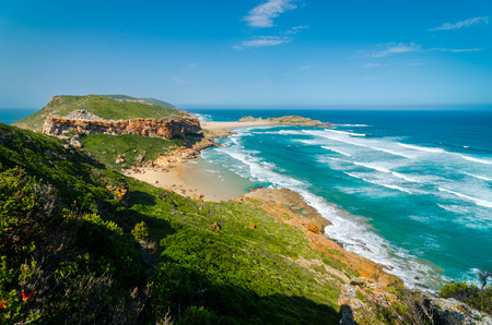 Robberg Nature Reserve, landscape wonderful beach and indian ocean waves, Garden route, plettenberg bay. South Africa Stock Photo