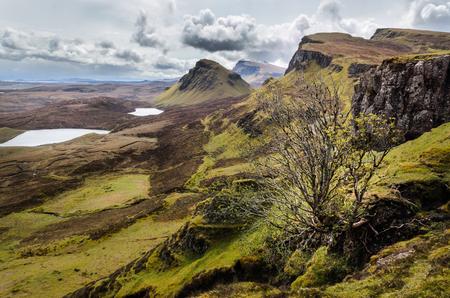 Isle of Skye, Quiraing mountains scenery, Scotland scenic landscape. Great Britain