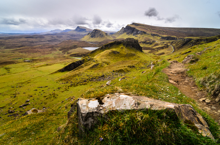 Isle of Skye, Quiraing mountains scenery, Scotland scenic landscape. Great Britain