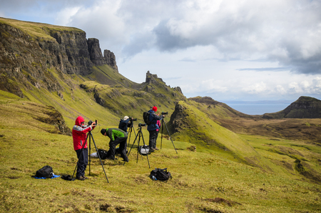landscape photography workshop, photographer, Isle of Skye, Quiraing mountain, Scotland. Great Britain Stock Photo