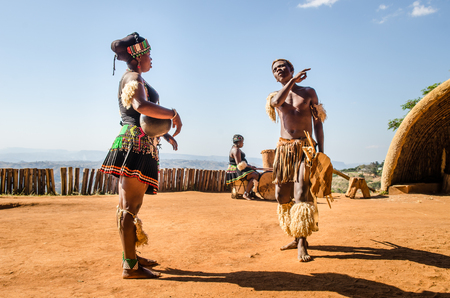 Phezulu village. Zulu cultural experience, dressed in traditional gear, dances, ceremonies, rituals in the Valley of a Thousand Hills, South Africa