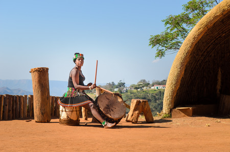 Zulu cultural experience, dressed in traditional gear, dances, ceremonies, rituals in the Valley of a Thousand Hills, South Africa