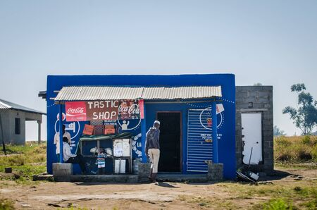 African typical shop market along along the street. African lifestyle and culture, South Africa