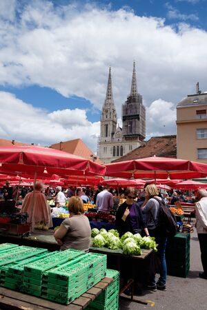 Dolac market Zagreb city center and the Cathedral in the background. Croatia, Euorope