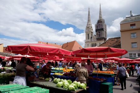 Dolac market Zagreb city center and the Cathedral in the background. Croatia, Europe