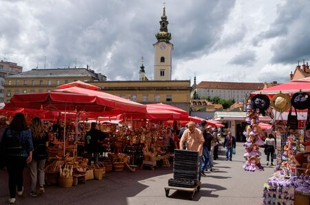 People at Dolac market Zagreb city center. Croatia touristic destination. europe