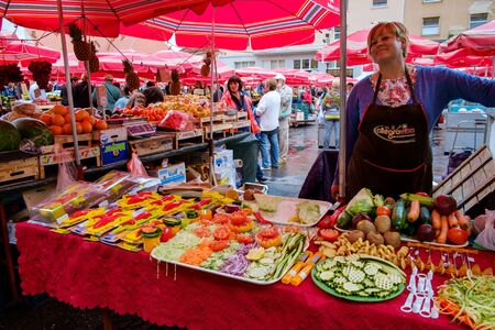 Dolac market Zagreb city center. People lifestyle. Croatia, European capital