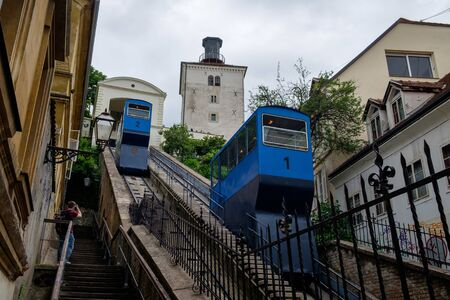 Kula Lotrscak funicular. Zagreb city center landmark. Croatia, Europe tourism. European capital