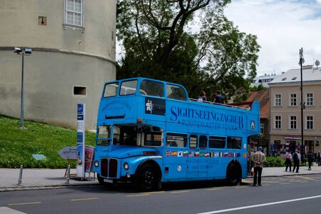 Zagreb sightseeing tour bus. Croatia euopean capital. Tourist travel destination.