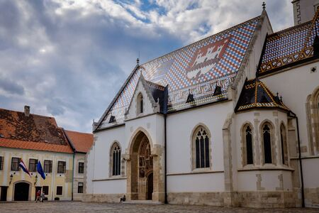 Zagreb Saint Mark Church. Croatia euopean capital. Tourist travel destination.