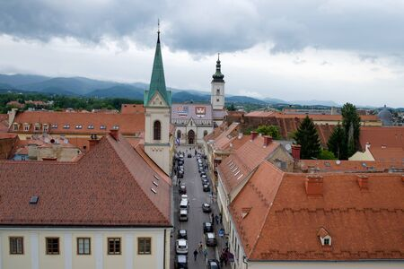Zagreb Saint Mark Church. Croatia euopean capital. Touristic travel destination.