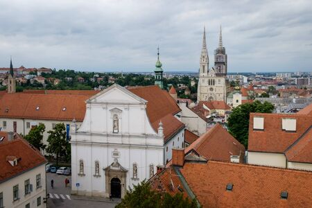 Zagreb Cathedral from above. Croatia euopean capital. Touristic travel destination.