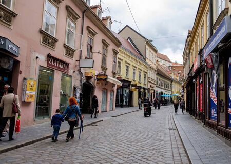 Zagreb city center historic street. Building achitecture. Croatia euopean capital. Touristic travel destination.