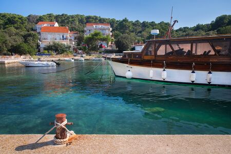 Mljet National Park, boats at the harbor of Pomea. Mljet island, Dalmatia, Croatia. Redactioneel
