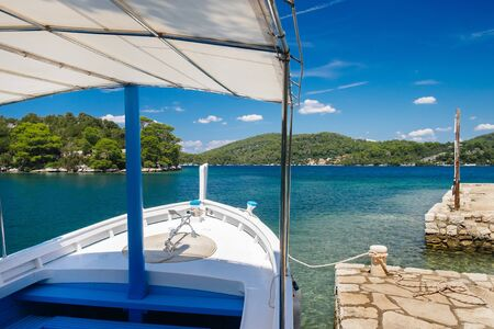 Boat in athe big lake. Mljet National Park, Mljet island, Dalmatia, Croatia. Stockfoto