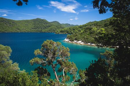 view from the top of the isle to the big lake. Mljet National Park, Mljet island, Dalmatia, Croatia.