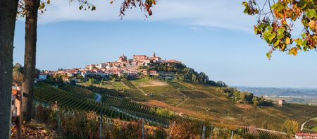 La Morra village, langhe vineyards hills. Viticulture of Dolcetto, Nebbiolo and Barbera red wine. Tourism in Europe, travel destination. Piedmont, Italy landmark.