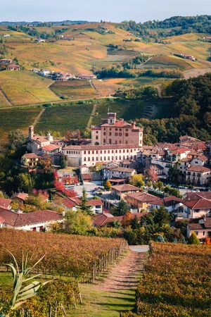 Barolo village view from the top from the vineyard. Landscape langhe nebbiolo vineyards hills. Autumn landscape, Dolcetto, Nebbiolo, Barbera red wine. Tourism, travel destination. Viticulture Piedmont, Italy, Unesco heritage