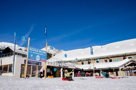 Montgenevre ski scholl, winter holiday sports. France