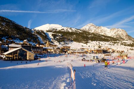 Montgenevre village view from the ski slopes. Winter holiday sports. White week in France Redactioneel