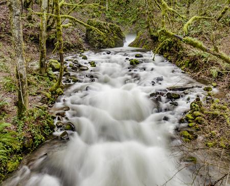 Stream as it turns at the base of Bridal Veil falls. Long exposure.