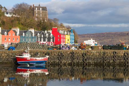 トバーモリーハーバースコットランド 写真素材