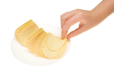 chips take hand isolated on white