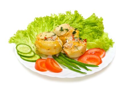 potatoes stuffed with minced meat with vegetables isolated on white