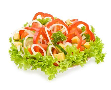 vegetable salad isolated on white Stock Photo