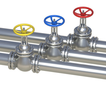 flange: steel pipeline with valve isolated on white - 3d illustration