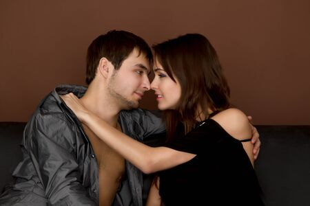 sexy young couple before kiss Stock Photo - 9824382