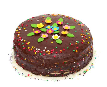 chocolate sprinkles: chocolate birthday  colorful cake with flowers and confetti