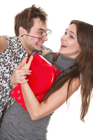 funny guy nerdy and glamorous girl in a Valentine's Day Stock Photo - 9826062