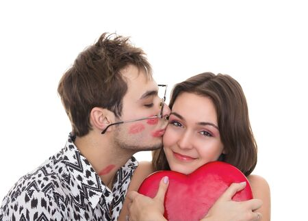 funny guy nerdy and glamorous girl in a Valentine's Day Stock Photo - 9824360