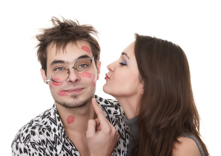 shy woman: funny guy nerdy and glamorous girl in a Valentines Day
